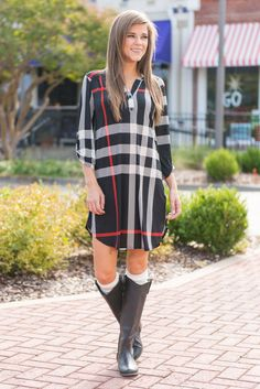"""""""This Plaid Is Here To Stay Dress, Black"""" The amount of love that you have shown for the long sleeve top just like this dress has been overwhelming! Which makes it safe to say that you are probably going to feel the same way about this dress!  #newarrivals #shopthemint"""
