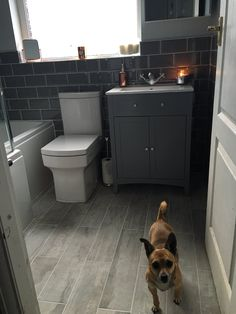 Grey Metro tiles give a contemporary look to our classic Camberley vanity basin unit in grey. What do you think to Danielle from Bolton bathroom? Zen Bathroom, Small Bathroom Vanities, Family Bathroom, Bathroom Layout, Bathroom Interior, Bathroom Ideas, Small Grey Bathrooms, Bathroom Island, Grey Bathroom Tiles