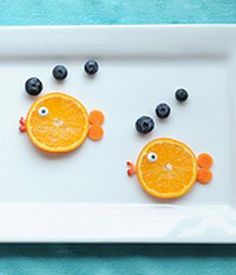cute snack, fish orange snack, kids orange and blueberry snack, fruit fish