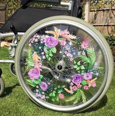 Hand-painted Floral Wheelchair Spoke Guards - Made to Order