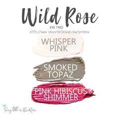 The Wild Rose Eye Trio uses three SeneGence ShadowSense: Whisper Pink ShadowSense, Smoked Topaz Shadowsense, and Pink Hibiscus Shimmer ShadowSense.  These cream to powder eyeshadows will last ALL DAY on your eye.  #shadowsense #eyeshadow
