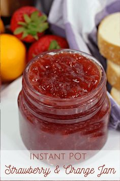 This Instant Pot Strawberry and Orange Jam is the easiest way possible to make jam - honestly, no skills needed at all!#Instantpot #strawberryjam #homemde Orange Jam, Christmas Jam, Homemade Jelly, Frugal Family, How To Make Jam, Strawberry Jam, Frugal Meals, Cooking With Kids, Yummy Food