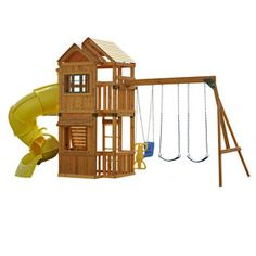 Lakewood Ready-to-Assemble Residential Wood Playset with Swings