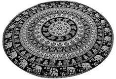 Round Indian Elephant Mandala Bohemian Hippie Boho Tapestry Yoga Blanket Throw #Handmade #Traditional #BeachThrowYogaMatTableCoverWallHanging