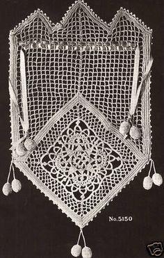 Vintage Antique 1916 Irish Crochet Opera Bag