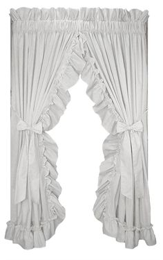 Stephanie Solid Color Country Ruffled Priscilla Window Curtains with Bow Tie Backs - Window Toppers White Kitchen Curtains, Country Curtains, Cottage Curtains, Ruffle Curtains, Window Curtains, Window Cornices, Valances, Primitive Kitchen, Country Primitive