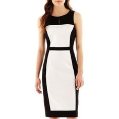 """Nicole Miller for JCP Sheath dress Colorblocked sheath dress! Classic black & white. Falls directly at the knee! Ladylike 💋 glam this up with a colored blazer & sandals & go. Colorblock dress in elegant cotton sateen mixes solids and prints for a stunning combination that will send your confidence soaring. sleeveless 39½"""" length cotton/spandex hand wash, line dry PRICE FIRM Nicole Miller Dresses"""