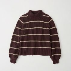 Abercrombie & Fitch Puff Sleeve Mock Neck Sweater (130 BRL) ❤ liked on Polyvore featuring tops, sweaters, burgundy stripe, brown long sleeve top, extra long sleeve sweater, stripe sweaters, textured sweater and stripe top