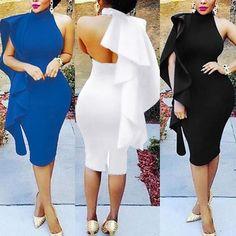 Stylish Ruffled Halter Bodycon Midi Dress