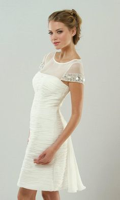 Short A-line Jewel Chiffon Cocktail Dress With Cap Sleeves  SPECIAL PRICE: $108.50