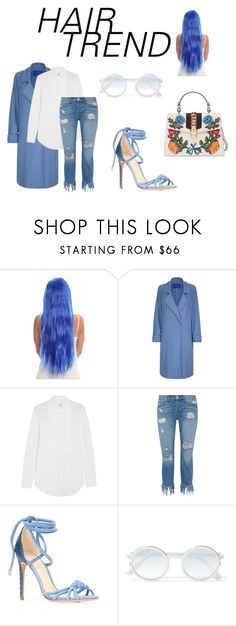 """Blue Hair"" by natlana ❤ liked on Polyvore featuring beauty, Winser London, Yves Saint Laurent, 3x1, Alexandre Birman, Sunday Somewhere, Gucci, hairtrend and rainbowhair"