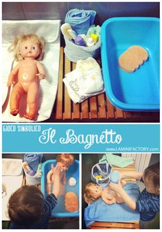 "Gioco simbolico ""L'ora del bagnetto"" bambole e maschi. Non esistono i giochi di genere! doll bath time - pretend play - boys & dolls - william's doll insipired"