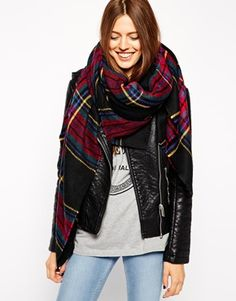 Enlarge ASOS Oversized Black Check Square Scarf