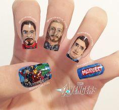 The Avengers Nails. Tony Stark. Iron Man. Thor. Captain America. Marvel nail art
