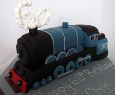 blue steam train cake