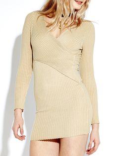 Sale 25% (22.65$) - Women Knitted V-neck Bodycon Dress Slim Long Sleeve Pencil Dresses