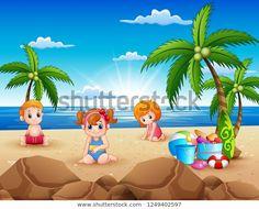 "Stock ilustrace ""Happy Kids Sitting On Sand Beach"" 1249402597 Happy Kids, Sand Beach, Illustration, Outdoor Decor, Image, Happy Children, Illustrations"