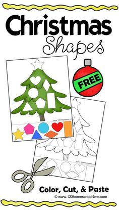 FREE Christmas Cut & Paste Worksheets - these free printable Christmas worksheets are for toddler, preschool, and kindergarten to practice shapes, strengthen fine motor skills, and scissor practice. Shapes Worksheets, Preschool Worksheets, Preschool Activities, Toddler Preschool, Preschool Shapes, Toddler Worksheets, Vocabulary Activities, Literacy Skills, Preschool Learning