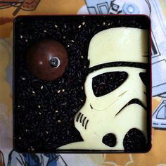 Yes, this is a bento box with black rice behind as space