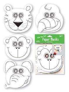 12 Maschere viso in cartoncino da colorare Animali della Giungla. Idea per party, compleanno e festa a tema animali, può essere l'attività manuale per intrattenerli e gadget da regalare. Disponibile da C&C Creations Store