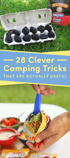 28 Clever Camping Tricks That Are Actually Useful Best Picture For Backpacking meals For Your Taste You are looking for Camping Hacks, Camping Diy, Camping Packing, Camping Supplies, Camping World, Camping Activities, Camping Essentials, Camping With Kids, Camping Meals