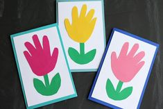 Handprint Flower Cards - Paper Kid Craft Idea For Spring If you are looking for an easy keepsake ide Mothers Day Crafts For Kids, Easter Crafts For Kids, Mothers Day Cards, Toddler Crafts, Birthday Cards For Mom, Birthday Crafts, Handmade Birthday Cards, Grandpa Birthday, Kids Cards