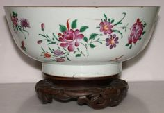 Chinese Qianlong Porcelain Punch Bowl Flowers & Insects