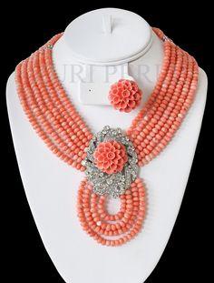 Nigerian wedding traditional jewelry by Zuri Perle Coral Beads