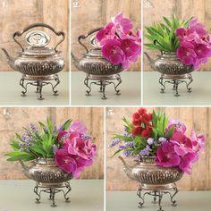 3 hastes de dracena-pleomele verde 1 haste de orquídea-vanda pink 1 haste de mamona vermelha 12 hastes de marianinha azul