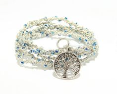 Crochet Wrap Yoga Bracelet Anklet Necklace with by DesignbyAthena Yoga Jewelry, Yoga Bracelet, Yoga Anklet