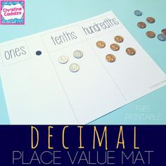 free decimal place value printable   perfect for:  -working with money  -extending place value understandings to decimals  -working with tenths hundredths and thousandths  -as a support for adding subtracting multiplying or dividing decimals  Get it here for FREE!  Happy (decimal place value) Teaching!!   Christine Cadalzo  decimal place value decimal place value mat decimals fifth grade fourth grade money activities place value place value mats