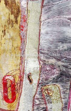 Scape detail - mixed media fabric, print, machine and hand stitch. Sue Hotchkis