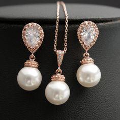 Pearl Jewelry Set Cubic Zirconia Pearl Bridal Jewelry Set ROSE GOLD with White Swarovski Pearl Drops Bridesmaid Jewelry Wedding Jewelry
