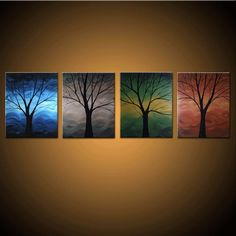 Winter, Spring, Summer, Fall -- Custom Painting - Hand Painted Modern Fine Art on Canvas -- Free Shipping to USA and Canada. $199.99, via Etsy.
