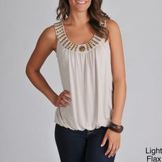 @Overstock - This pullover blouson tank will become a staple in your wardrobe, whether worn alone or as a layering piece. The metallic details along the neckline will pop with modern flair on this sleeveless tank. Colors of black, turquoise or flax are available.http://www.overstock.com/Clothing-Shoes/Grace-Elements-Womens-Studded-Blouson-Tank/6839951/product.html?CID=214117 $20.99