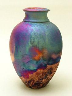 chris hawkins pottery, handthrown raku copper matt