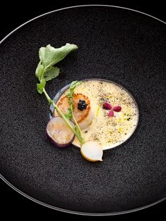 #plating #presentation  Fried Saints Jacques (scallop) and citrus sabayon (Italian mousse-like dessert) by chef Kei Kobayashi. © Richard Haughton - See more at: http://theartofplating.com/editorial/kei-kobayashi-picasso-in-the-kitchen/#sthash.va2HUoOQ.dpuf