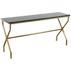 c029129673da Preowned Brass And Raffia Console With Marble Top ( 6