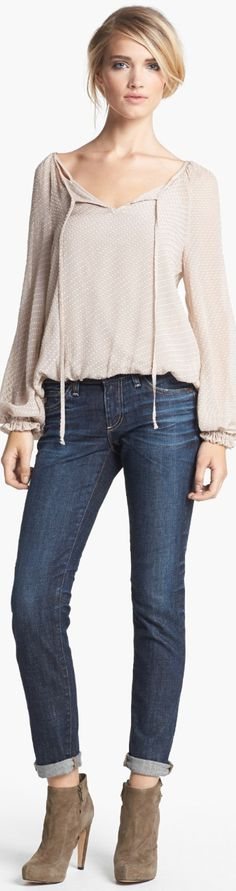 AG Jeans from Nordstrom  Love the cuffed jeans with the booties