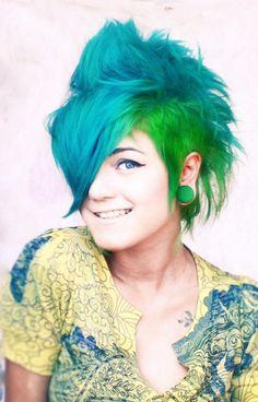 blue green hair mohawk