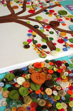 Adorn a tree with buttons.