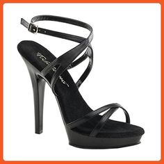 5 Inch Sexy Strappy Shoes Womens High Heeled Shoes Black Shoes With Ankle Strap Size: 6 - Sandals for women (*Amazon Partner-Link)