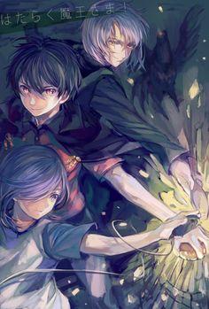 Lucifer (Urushihara), Alsiel (Ashia), and Satan (Maou) Anime D, Anime Love, Devil Part Timer, Hataraku Maou Sama, Demon King, Blue Exorcist, Awesome Anime, Devilman Crybaby, Tokyo Ghoul