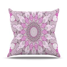 "Monika Strigel ""Dots and Stripes Pink"" Outdoor Throw Pillow"