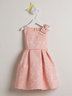 Rose Jacquard With Shoulder Bow Dress