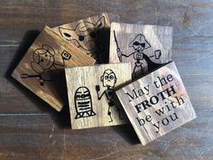May the FROTH be with you, set of 5, Character Coasters by WittyThingsUS on Etsy