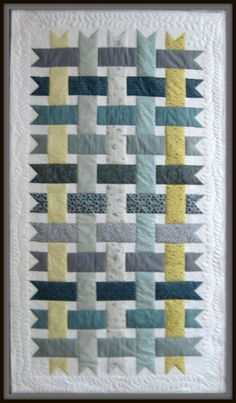 """Woven Ribbons - Bed Throw, Lap Quilt or Wall Hanging Sized Patchwork Quilt - Grey, Yellow, Light Blue and White, 42"""" x 74"""""""