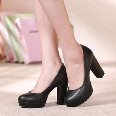 Court Comfortable Office Work Cover Womens Thick Heel Shoes Wedges Platforms High Heels Round Toe Nude Shallow Mouth Pumps