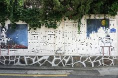 Bovine Symphony 01: street collage on the wall - Seoul Street Art (Hongdae)