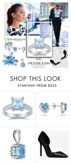 """""""ApplesofGold Jewelry"""" by followme734 ❤ liked on Polyvore featuring Yves Saint Laurent and applesofgoldjewelry"""
